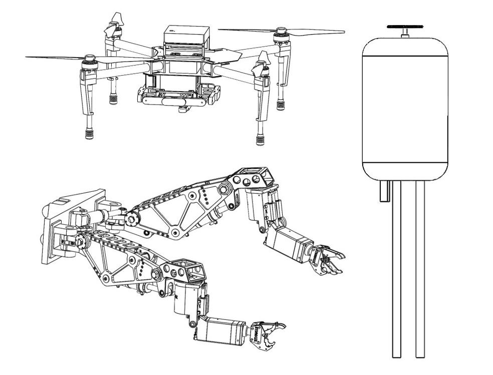 Diagram of quadcopter and manipulators