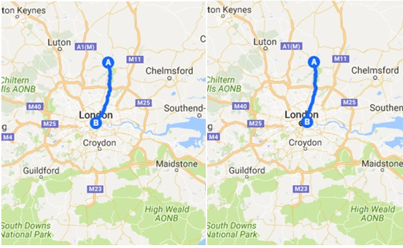 Bingley's (L) and Jane's (R) journeys