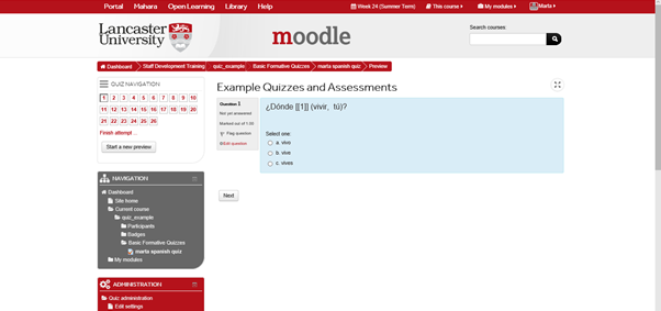 Example moodle assessment