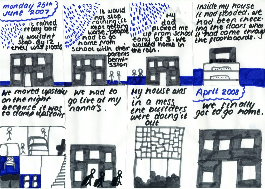 Storyboard drawing of the floods and evacuation from home. Long description via embedded link.