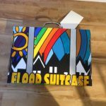 A decorated flood suitcase