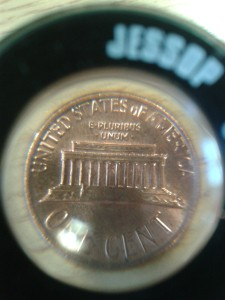 US cent magnified