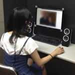 Lady completing an eye tracking study on computer