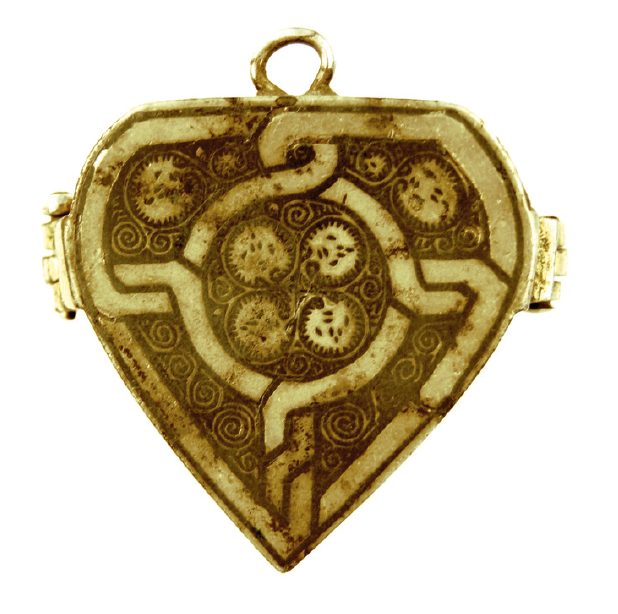 Heartshaped, silver-gilt locket inlaid with niello from Santa Maria Navarrese