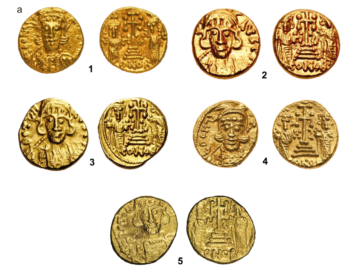 Coins with retrograde 'S': solidi, Constantine IV (668– 85)