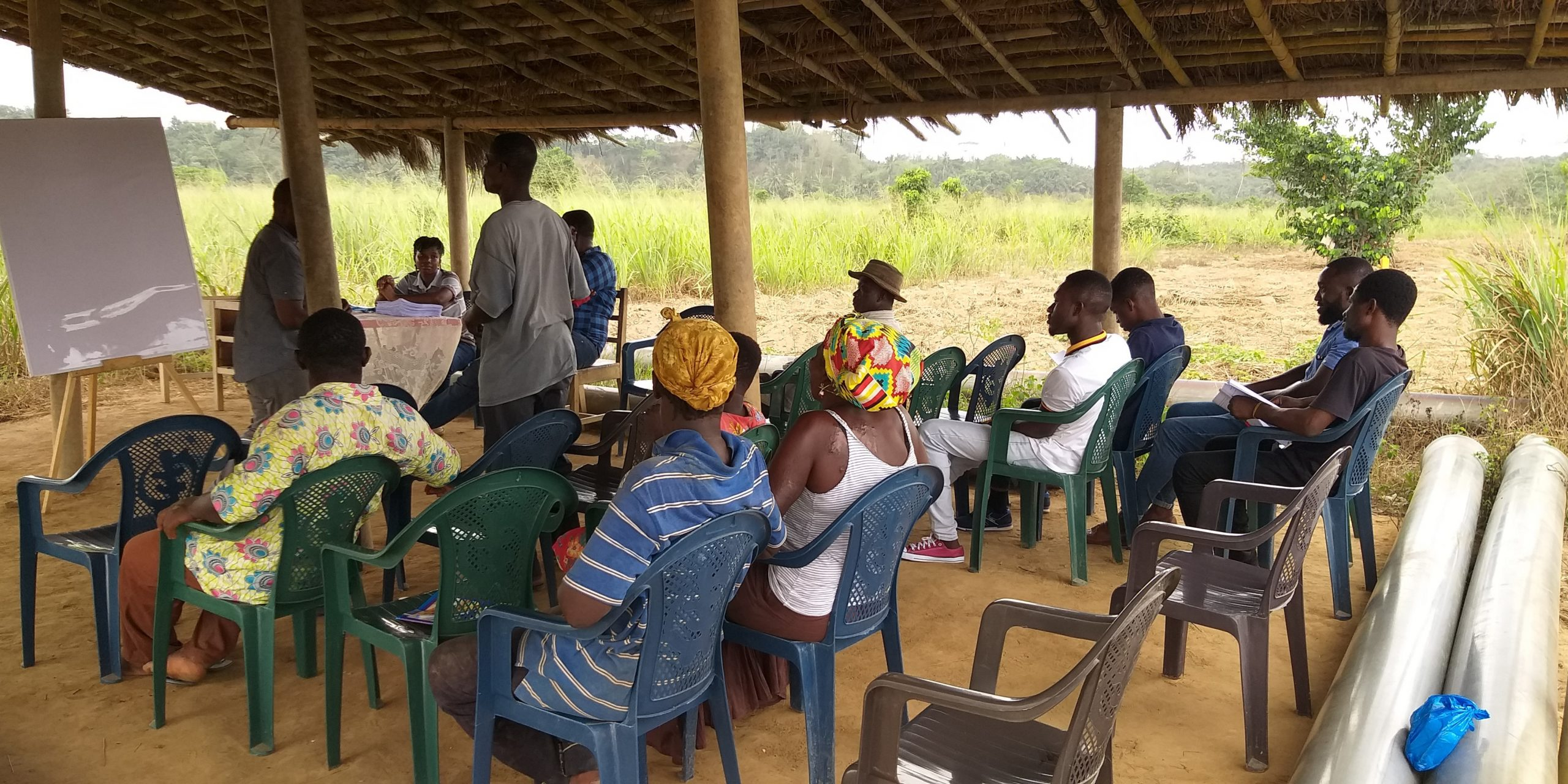 4 Participatory roundtable discussion with the irrigation scheme project manager, farmer association members together with CSIR-IIR Research team at Mankessim irrigation scheme