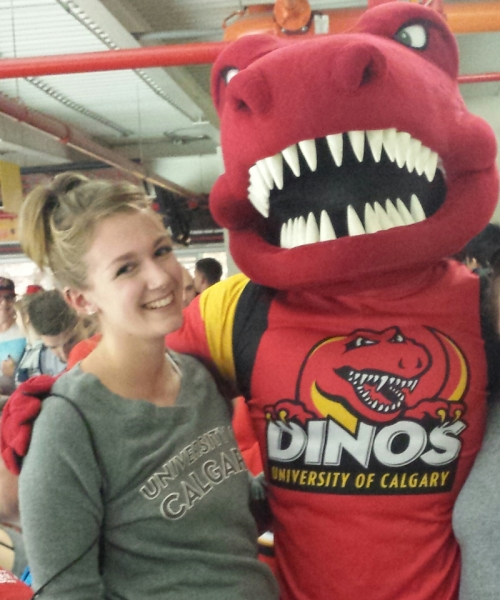 An image of Laura with a Candian mascot