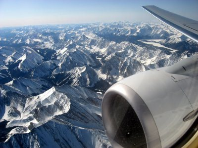 Image of the outside view from an aeroplane aeroplane