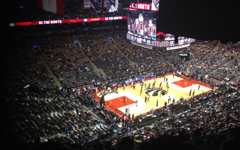 A picture from the audience watching a basketball game in Canada