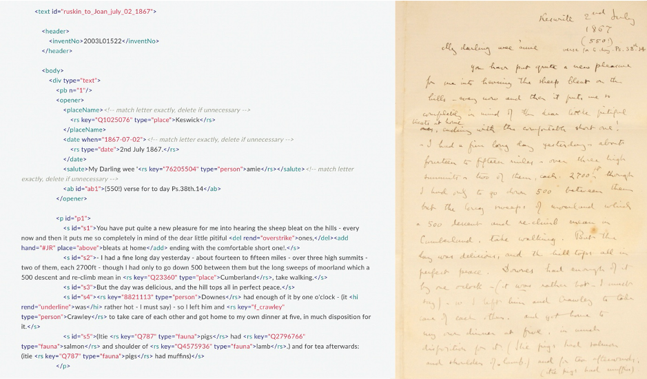 Image of a sample XML transcription of Ruskin's letter to Joan, 2 July 1867