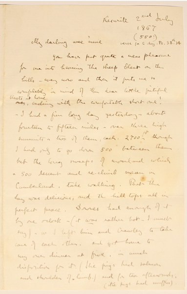 Image of Ruskin's letter to Joan Severn, 2 July 1867