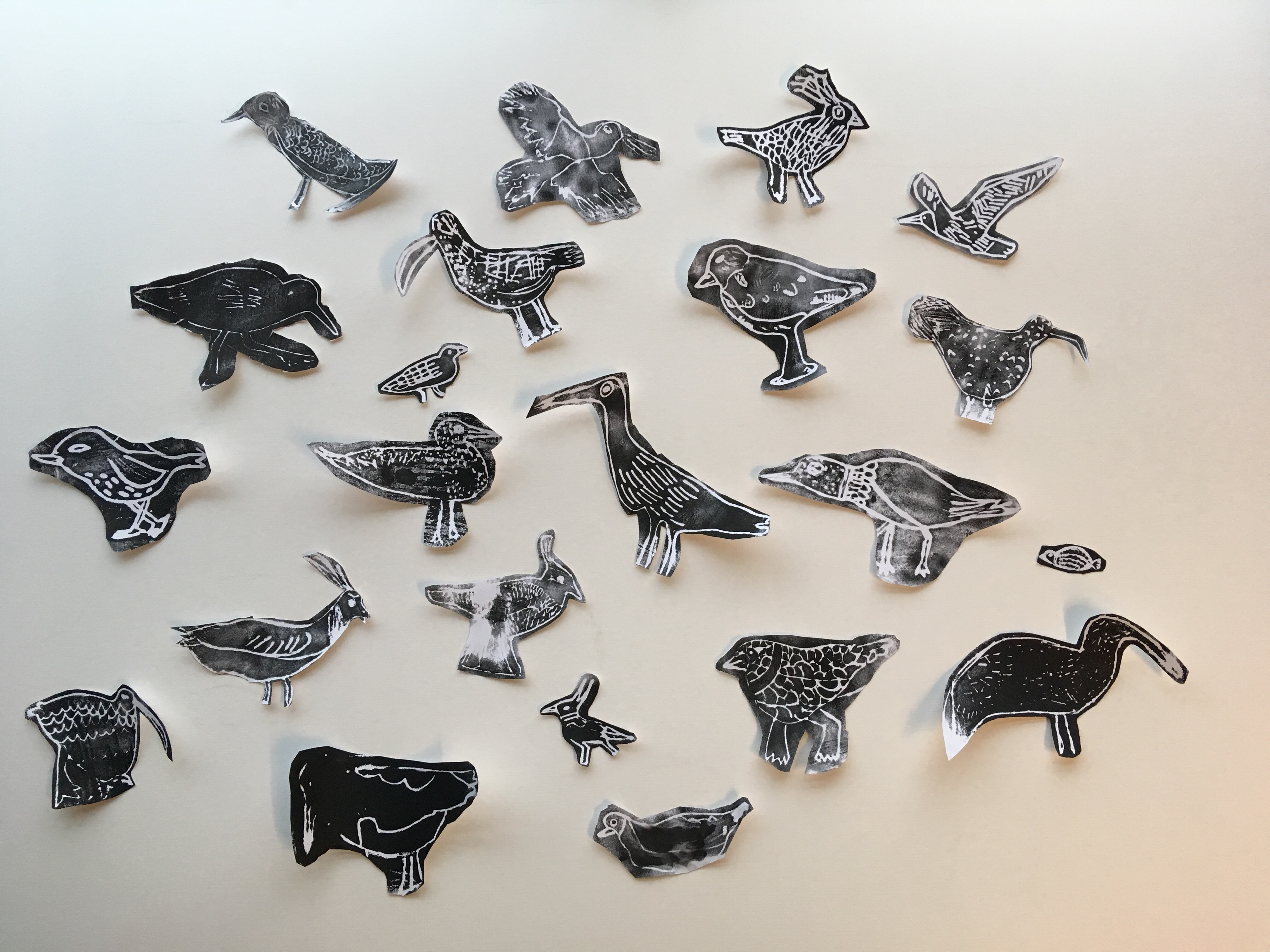 Birds from Morecambe Bay: prints made by a class of Year 5s using conductive ink.