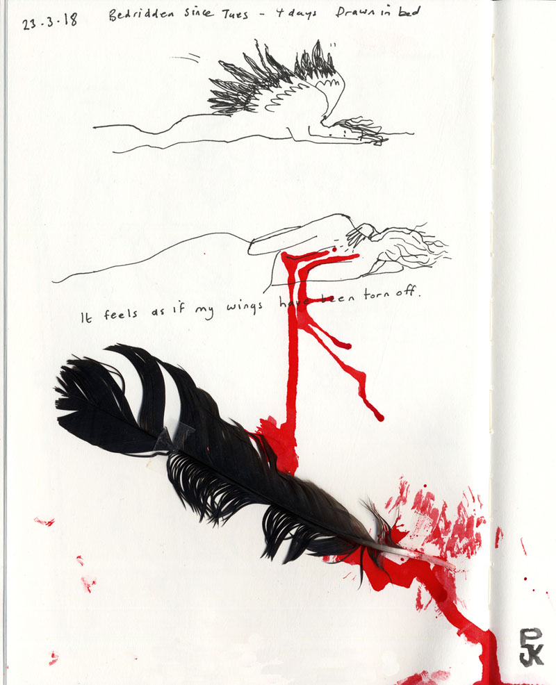 The image is in three vertical panels and shows an ink drawing of a woman with wings falling down - she has crashed. The second panel shows her from behind with blood between her shoulder blades with the words 'it feels as if my wings have been torn off'. The final panel is a real feather with blood at its tip.