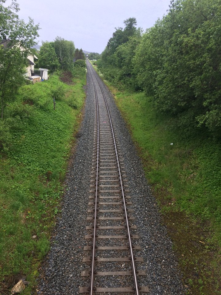 this image shows a green field with train tracks running through the centre
