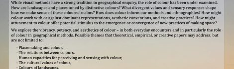 CFP: Mobilising colour in geographical research: vibrancies, saturations, and more -than- visual methods