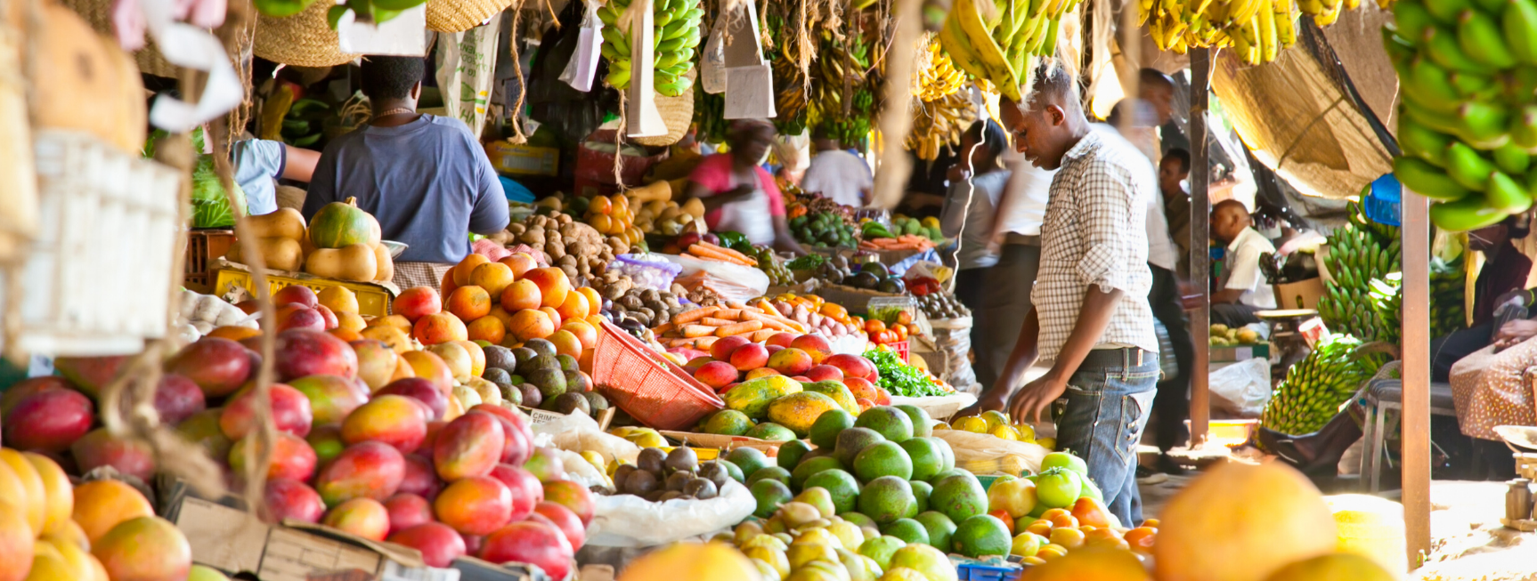 An image of a busy African market. There are a variety of colourful fruit on sale and several customers inspecting the goods on display.