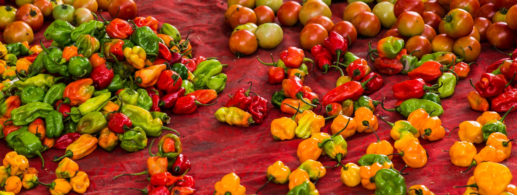 An image of several ripe and colourful varieties of furit and vegitables on display in an African market.