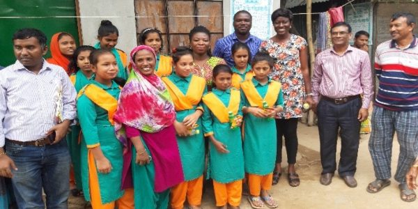 Girls with their mentors and visitors