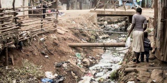 Contaminated watercourse