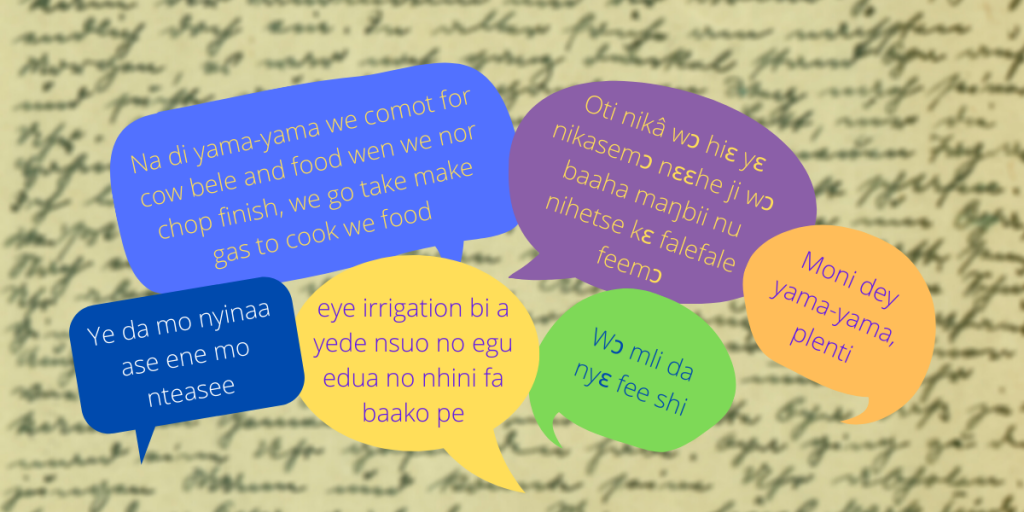 Image containing speech bubbles with phrases in local languages